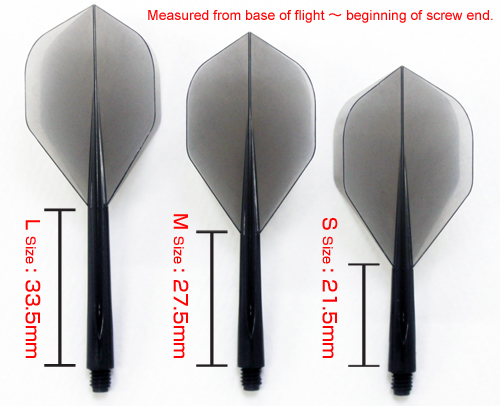 length of flight darts